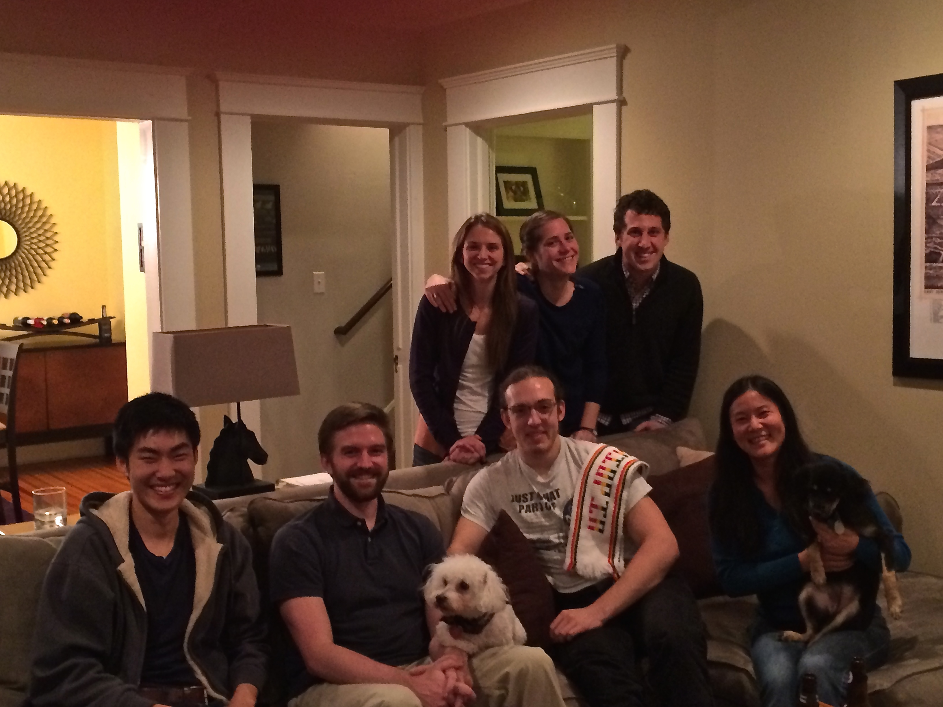 Happy holidays 2014: Amanda, Amanda, Noah, Mike, Steve, Tauras, Jenny, and Malthus and George the dogs