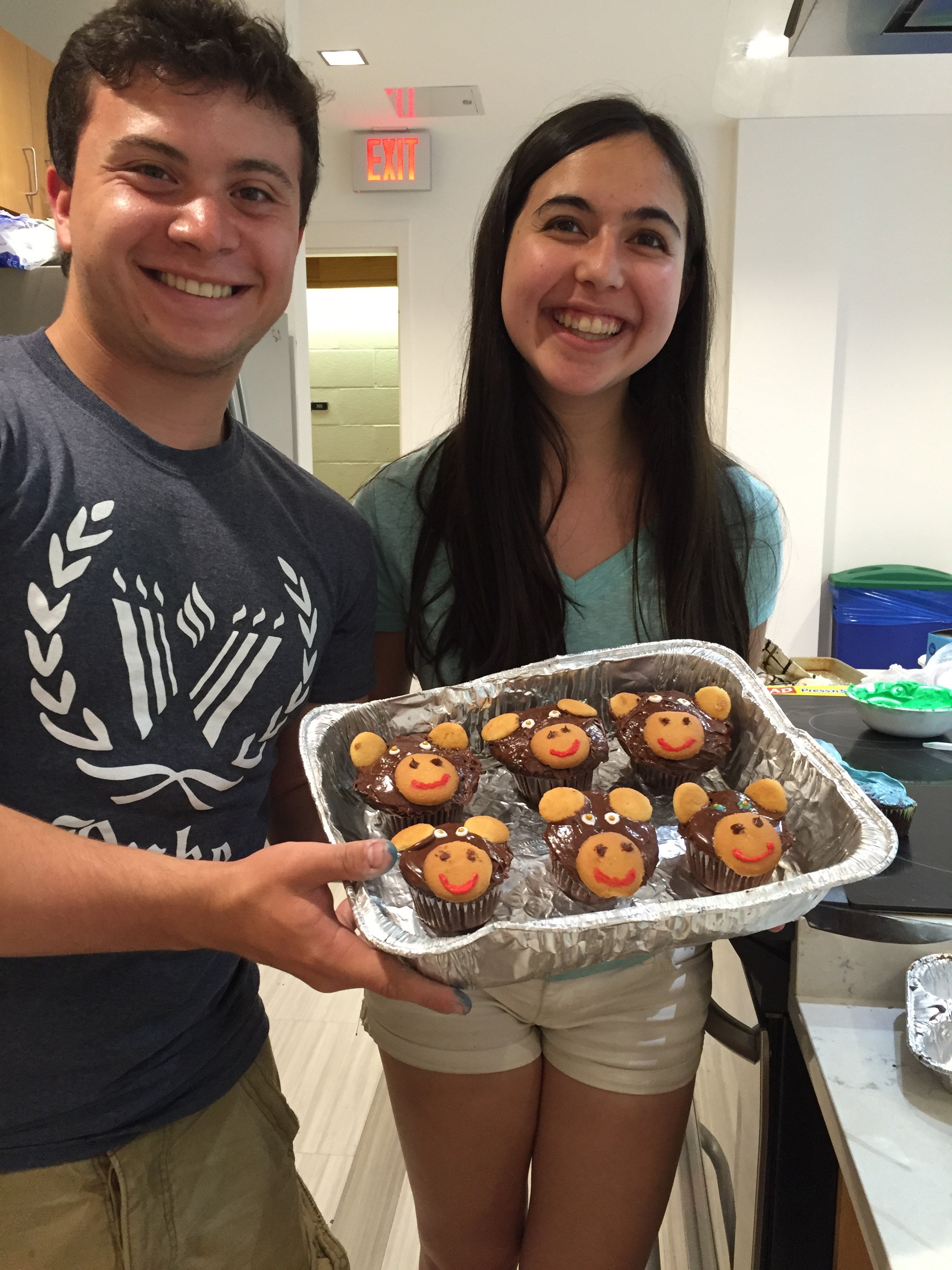 Lab undergrads Reena Debray and Jay Zussman celebrate the end of 2015-2016 with cupcake monkeys